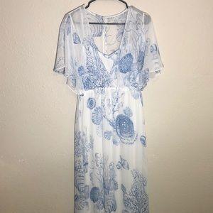 Soft surroundings beach ocean sequin maxi dress